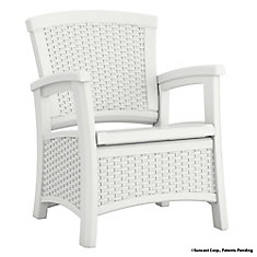 Elements Outdoor Club Chair with Storage in White