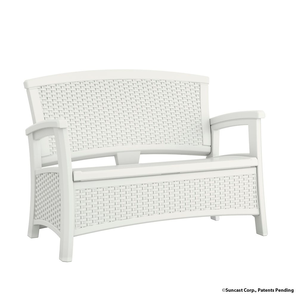 Wicker Bench with Storage, White