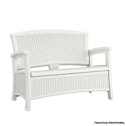 Suncast Wicker Bench with Storage in White