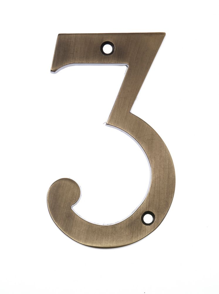 6 Inch Aged Brass House Number 3