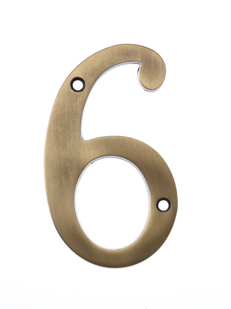 6 Inch Aged Brass House Number 6