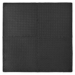 Connect-A-Mat Tapis utilitaire anti-fatigue - Noir (paquet de 4 avec bordures)