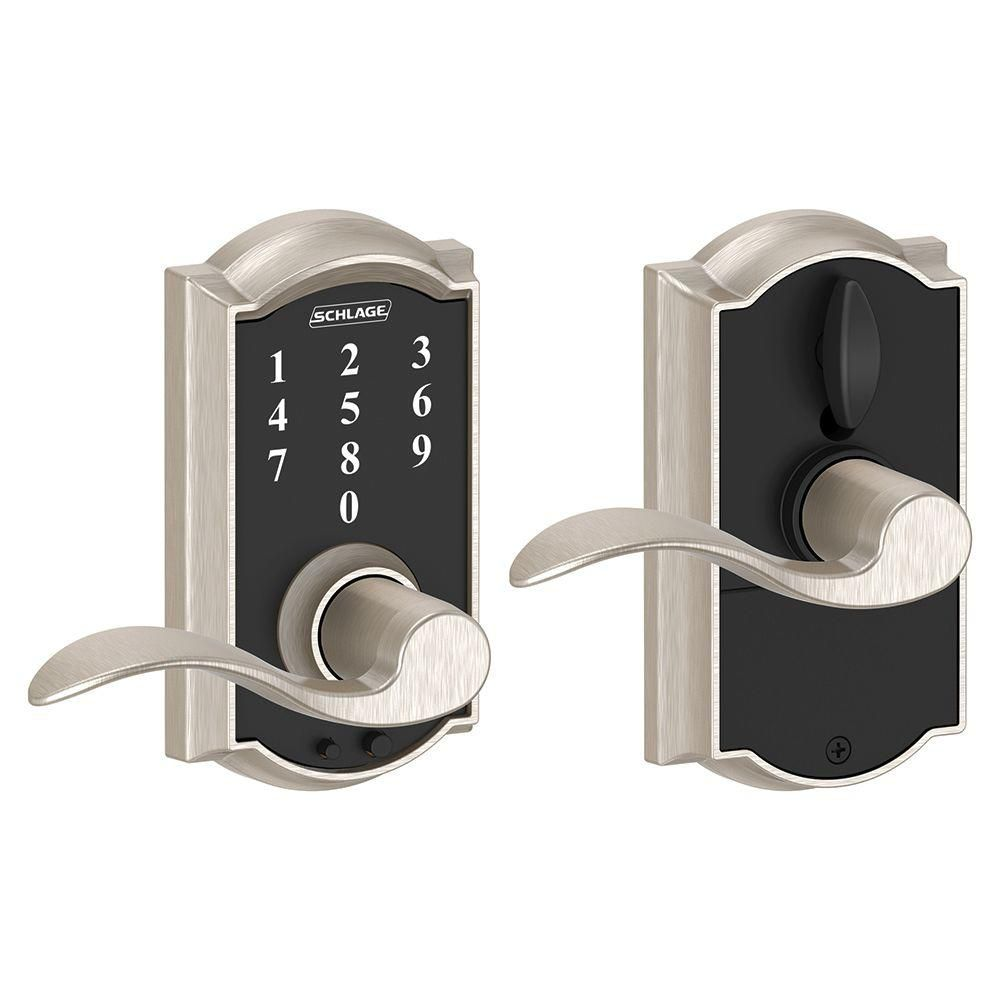 Touchscreen Lock Camelot/Accent Lever Satin Nickel