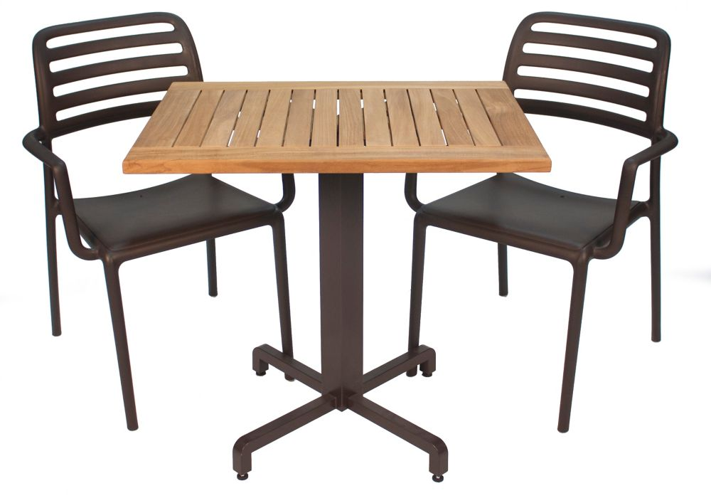 Teak Bistro Set With 2 Costa Caf Armchairs 1 Ibisco Square Tilting Base And 1teak Top Bcf 25