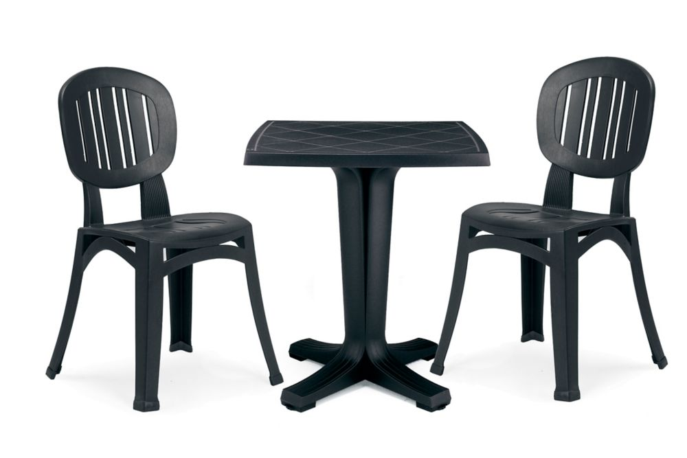 Charcoal Resin Commercial Grade 26-inch Marte table and 2 Elba chairs