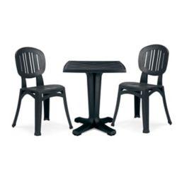 """Nardi Résine charbon Commercial Grade 26 """" Table Marte et 2 chaises Elba"""