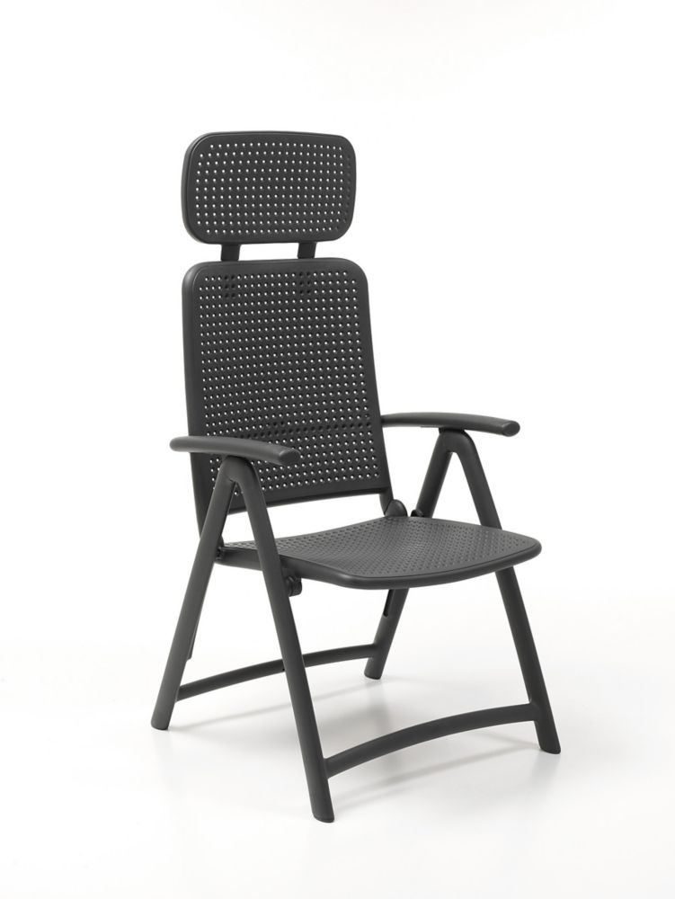Aquamarine Folding 4 position Armchair with adjustable soft head rest (Charcoal)