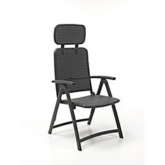 Aquamarine 4-Position Folding Armchair with Adjustable Soft Head Rest in Charcoal