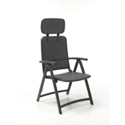 Nardi Aquamarine 4-Position Folding Armchair with Adjustable Soft Head Rest in Charcoal