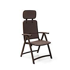 Aquamarine 4-Position Folding Armchair with Adjustable Soft Head Rest in Café