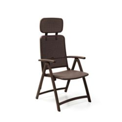 Nardi Aquamarine 4-Position Folding Armchair with Adjustable Soft Head Rest in Café