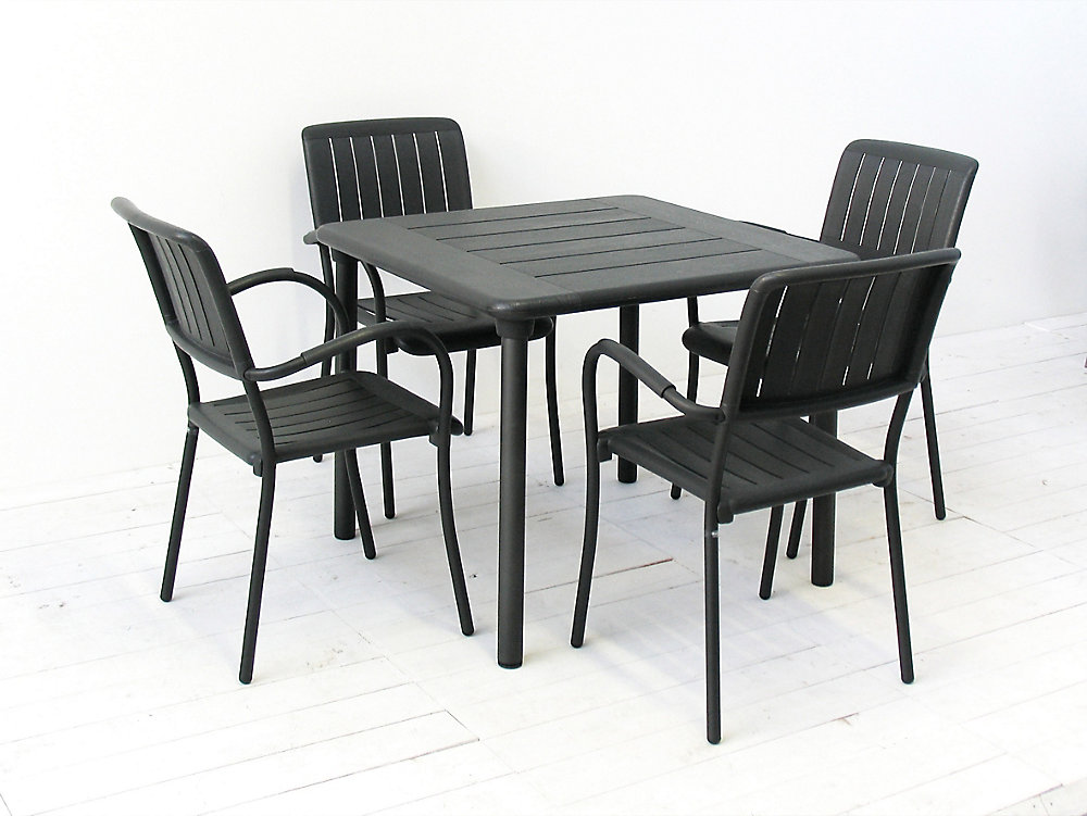 Nardi Patio Furniture.Patio Dining Set With Maestrale Square Table And Four Musa Arm Chairs In Charcoal