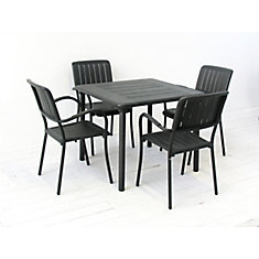 Nardi Patio Dining Set with Maestrale Square Table and Four Musa Arm Chairs in Charcoal
