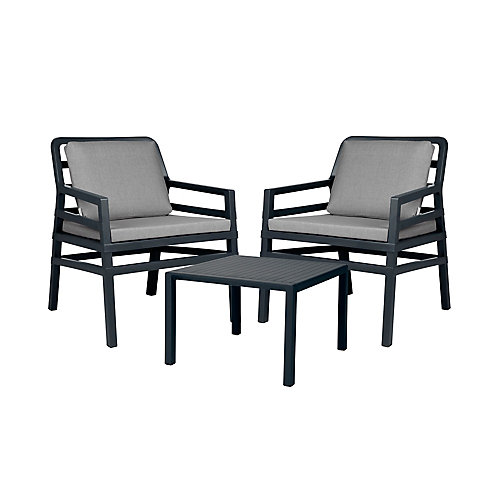 Aria Outdoor Lounge Set in Charcoal with Grey Cushions