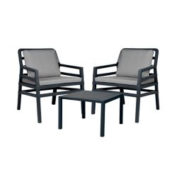 Nardi Aria Outdoor Lounge Set in Charcoal with Grey Cushions