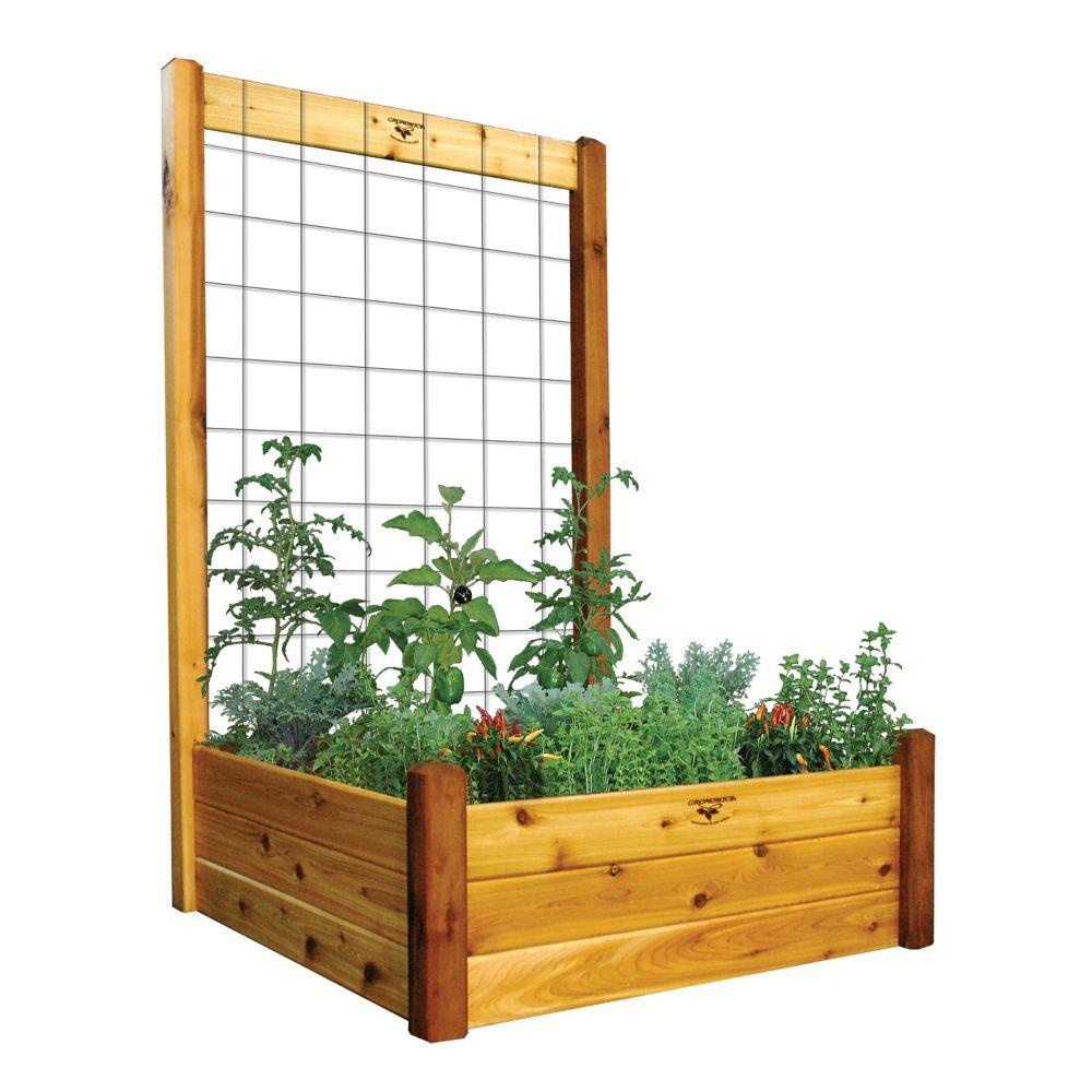 "Raised Garden Bed with Trellis Kit Safe Finish 48x48x80 - 15""D"