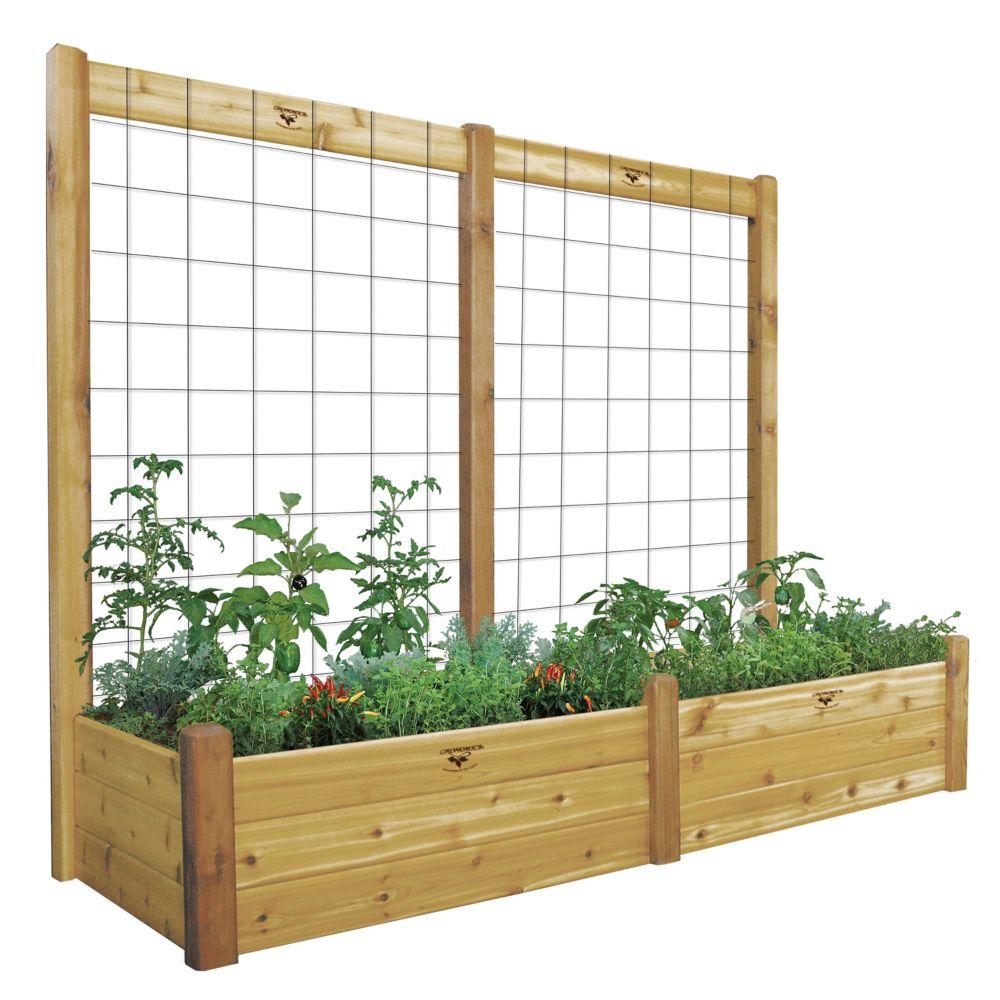 Planche de jardin de 34 x 95 x 19po avec treillis de 95 x 80po