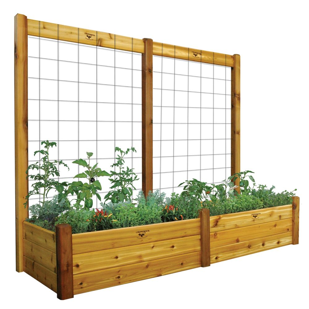 "Raised Garden Bed with Trellis Kit Safe Finish 34x95x80 - 15""D"