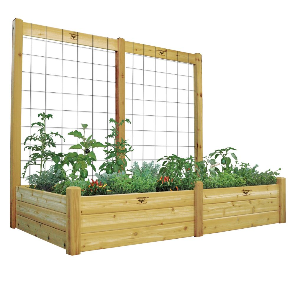 "Raised Garden Bed with Trellis Kit Safe Finish 48x95x80 - 15""D"