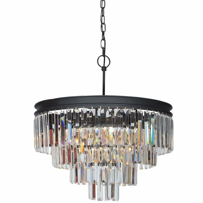 20 In. Round 5 Light 5 Tier Dark Bronze Pendant with Elongated Crystals