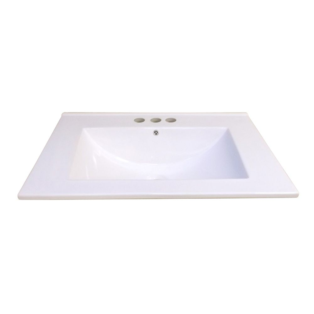 24-Inch W x 18 1/4-Inch D Ceramic Vanity Top in White with Wave Bowl
