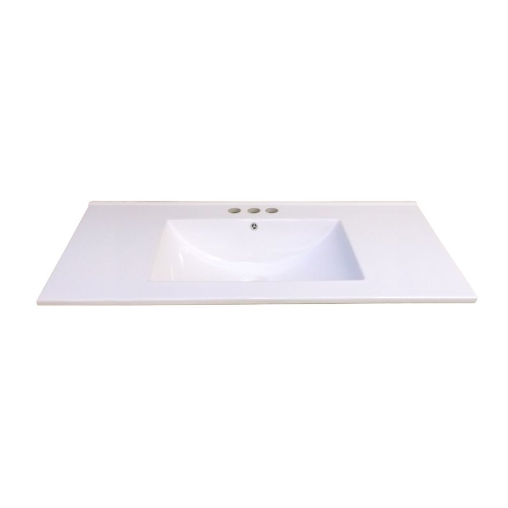 36-Inch W x 18 1/4-Inch D Ceramic Vanity Top in White with Wave Bowl