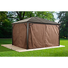 Sumatra 10 ft. x 10 ft. Patio Curtains in Brown