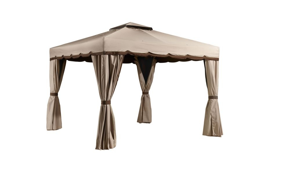 Sojag romano 10 ft x 12 ft sun shelter in beige and for Abri mural sun shelter