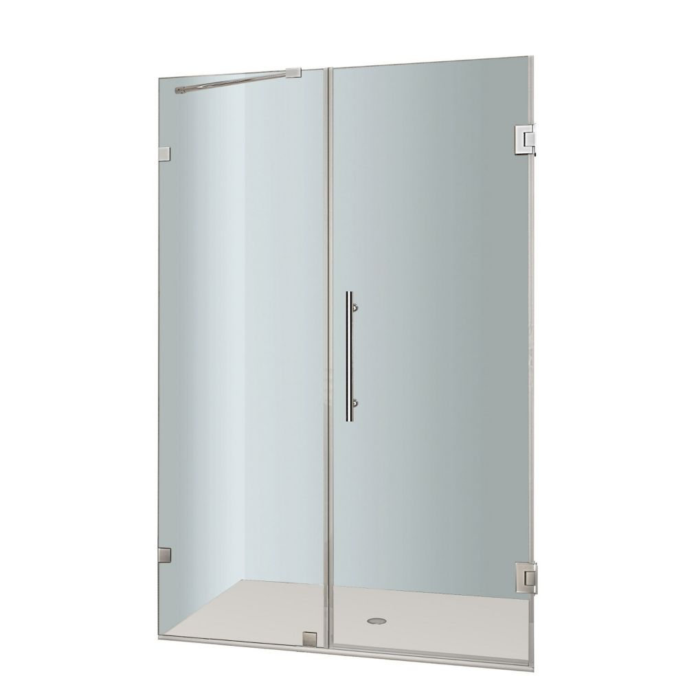 Aston Nautis 49 In. x 72 In. Completely Frameless Hinged Shower Door in Stainless Steel