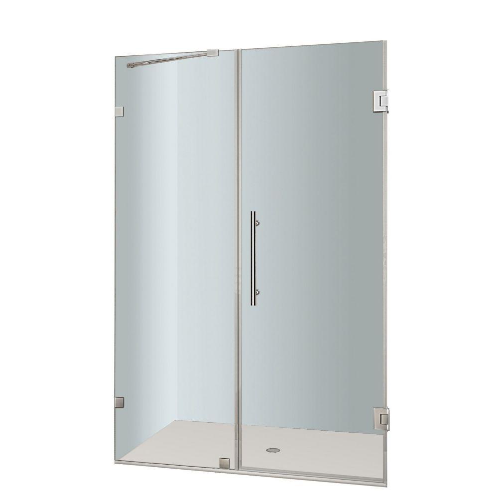 Nautis 50 In. x 72 In. Completely Frameless Hinged Shower Door in Stainless Steel