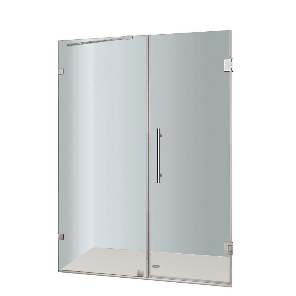Nautis 54 In. x 72 In. Completely Frameless Hinged Shower Door in Stainless Steel