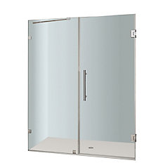 Nautis 60 In. x 72 In. Completely Frameless Hinged Shower Door in Stainless Steel