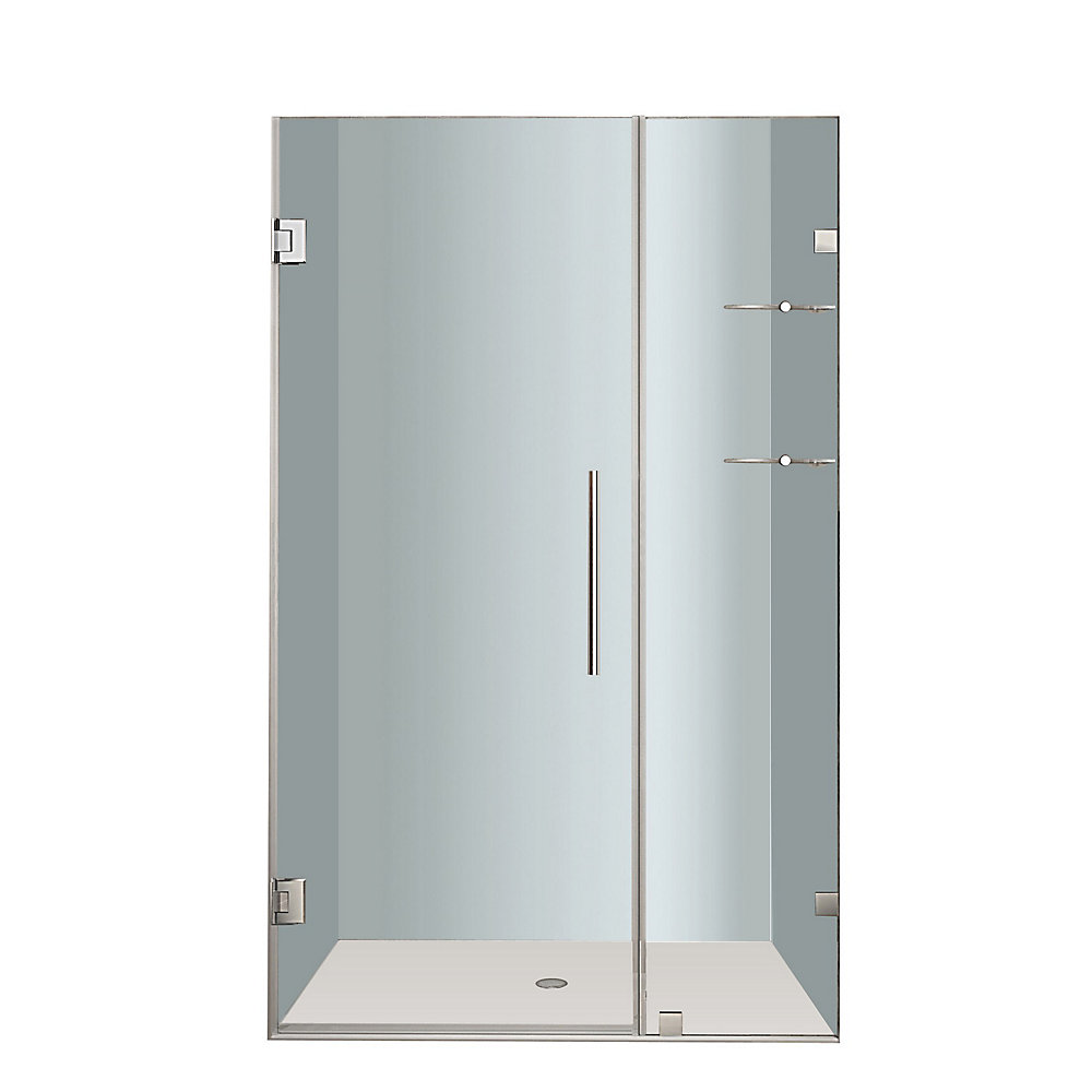Nautis GS 43 In. x 72 In. Completely Frameless Hinged Shower Door with Glass Shelves in Chrome