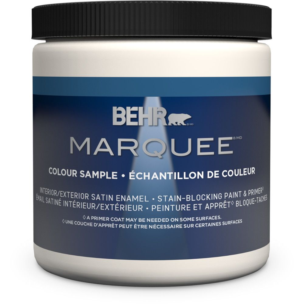 Behr Marquee 8 oz Ultra Pure White Satin Enamel Interior Paint Sample with Primer