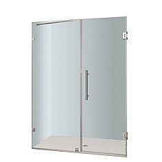 Nautis 58 In. x 72 In. Completely Frameless Hinged Shower Door in Chrome