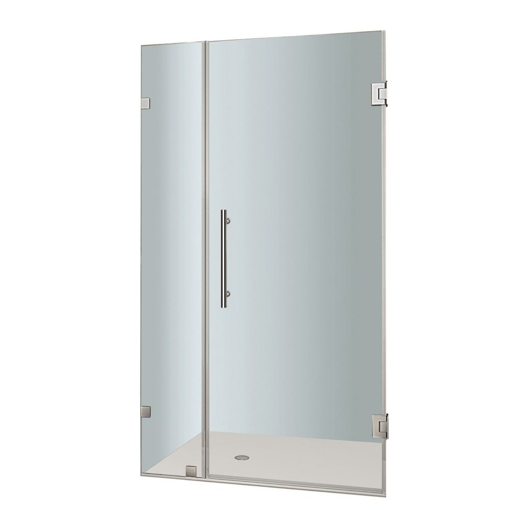 Nautis 28 In. x 72 In. Completely Frameless Hinged Shower Door in Stainless Steel