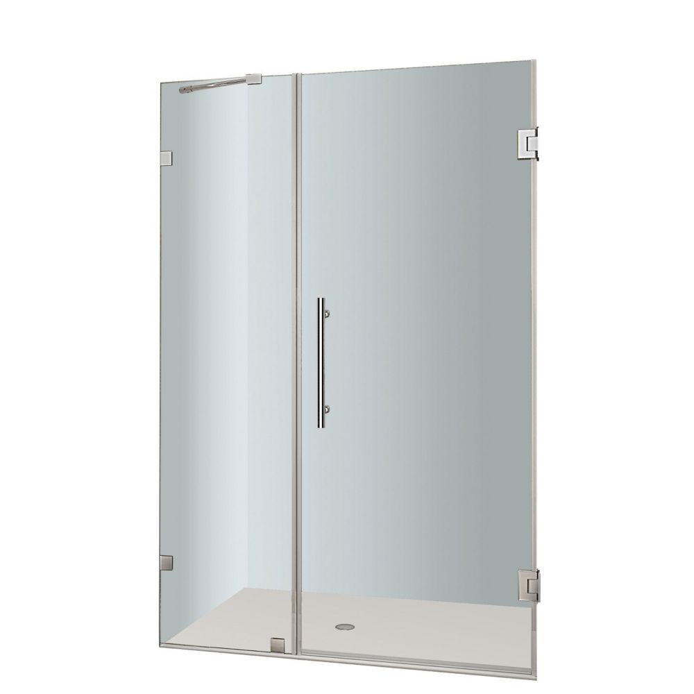 Nautis 36 In. x 72 In. Completely Frameless Hinged Shower Door in Stainless Steel