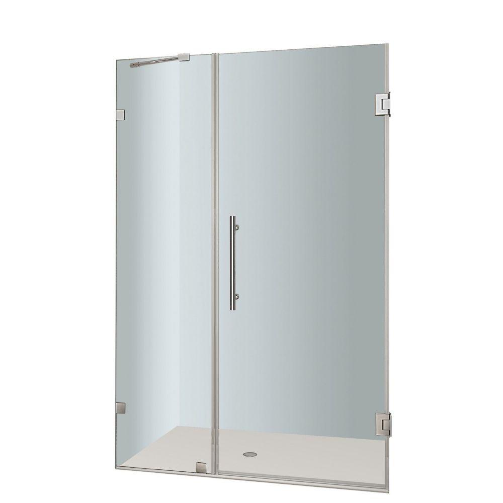 Nautis 38 In. x 72 In. Completely Frameless Hinged Shower Door In. Stainless Steel