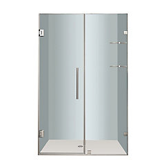 Nautis GS 48 In. x 72 In. Completely Frameless Hinged Shower Door with Glass Shelves in Chrome