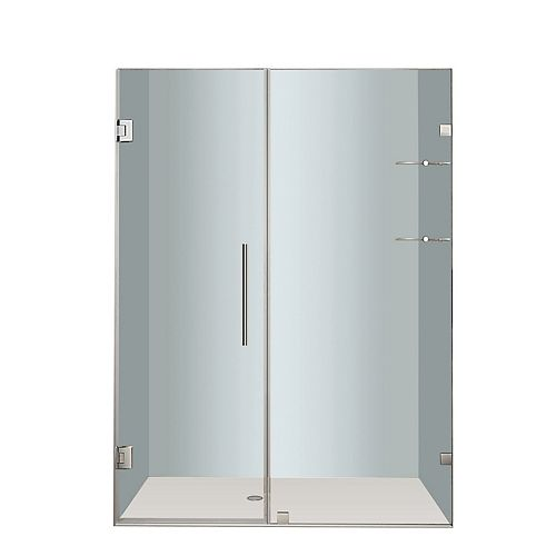 Aston Nautis GS 58 In. x 72 In. Completely Frameless Hinged Shower Door with Glass Shelves in Chrome