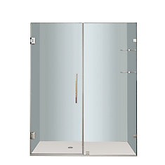 Nautis GS 60 In. x 72 In. Completely Frameless Hinged Shower Door with Glass Shelves in Chrome