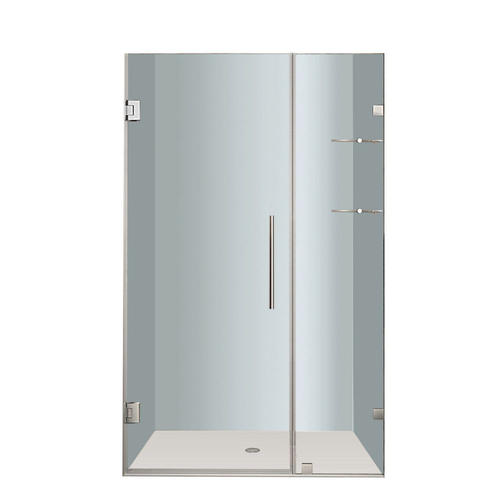 Aston Nautis GS 38 In. x 72 In. Completely Frameless Hinged Shower Door with Glass Shelves in Stainless Steel