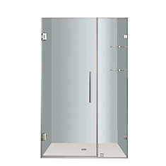 Nautis GS 42 In. x 72 In. Completely Frameless Hinged Shower Door with Glass Shelves in Stainless Steel