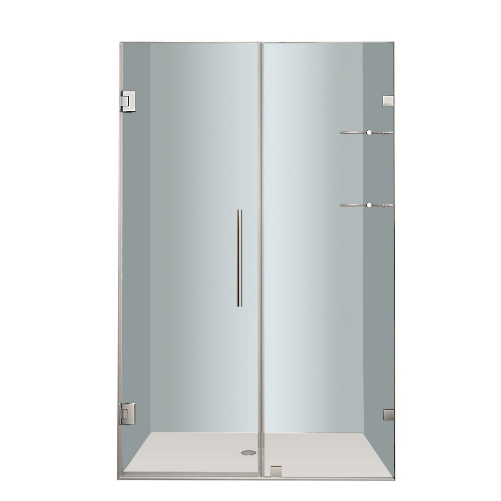 Aston Nautis GS 44 In. x 72 In. Completely Frameless Hinged Shower Door with Glass Shelves in Stainless Steel