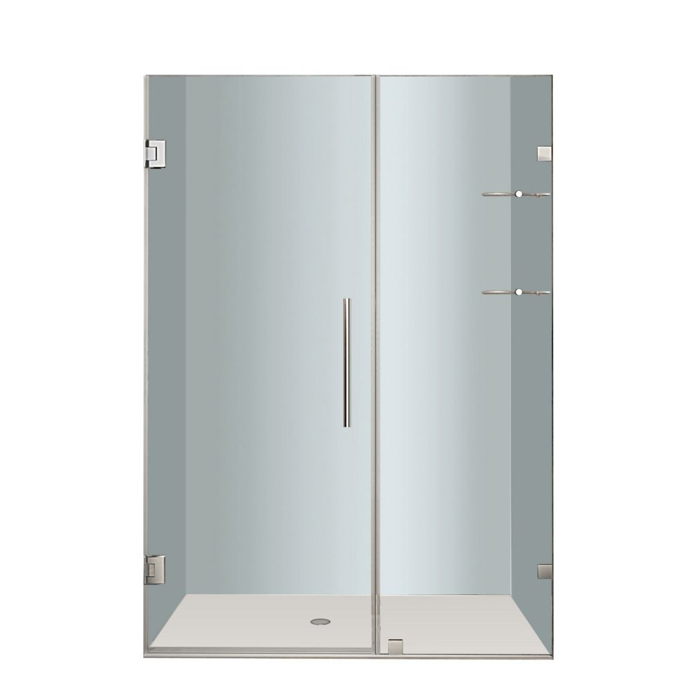 Aston Nautis GS 46 In. x 72 In. Completely Frameless Hinged Shower Door with Glass Shelves in Stainless Steel