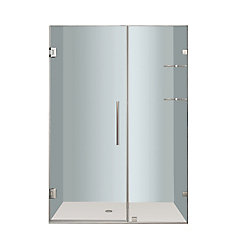 Nautis GS 47 In. x 72 In. Completely Frameless Hinged Shower Door with Glass Shelves in Stainless Steel