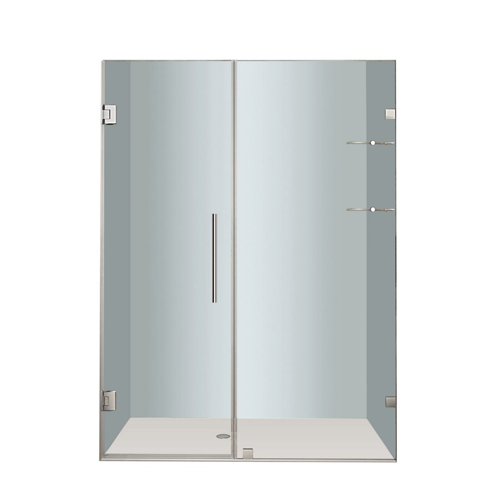 Aston Nautis GS 56 In. x 72 In. Completely Frameless Hinged Shower Door with Glass Shelves in Stainless Steel