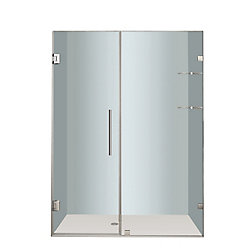 Aston Nautis GS 58 In. x 72 In. Completely Frameless Hinged Shower Door with Glass Shelves in Stainless Steel