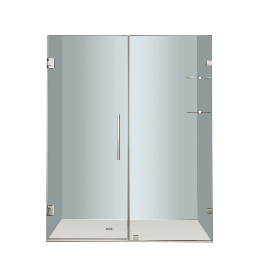 Nautis GS 60 In. x 72 In. Completely Frameless Hinged Shower Door with Glass Shelves in Stainless...