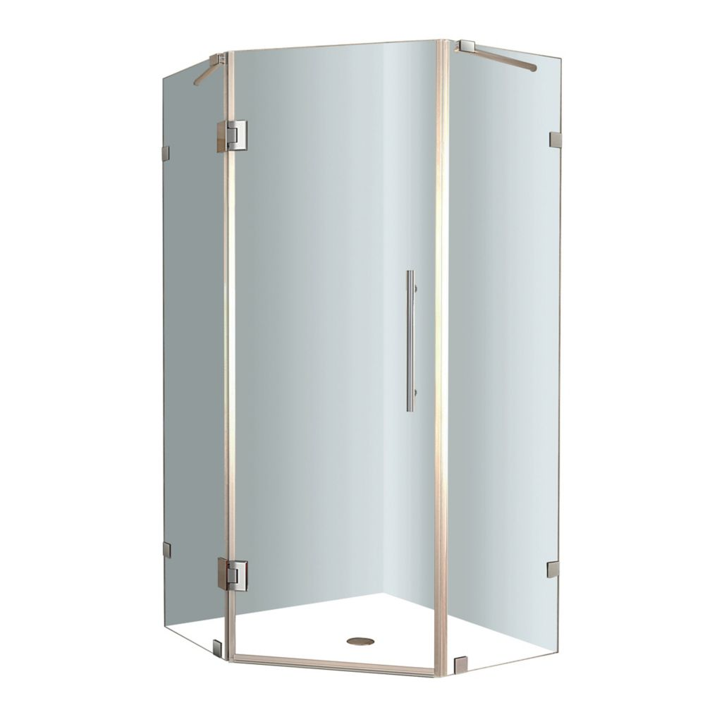 Neoscape 42-Inch  x 42-Inch  x 72-Inch  Frameless Shower Stall in Stainless Steel